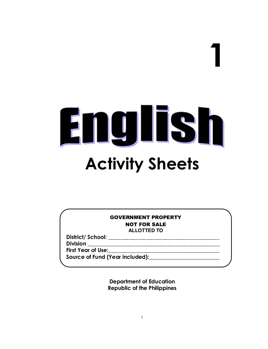 I Activity Sheets Department Of Education Republic Of The