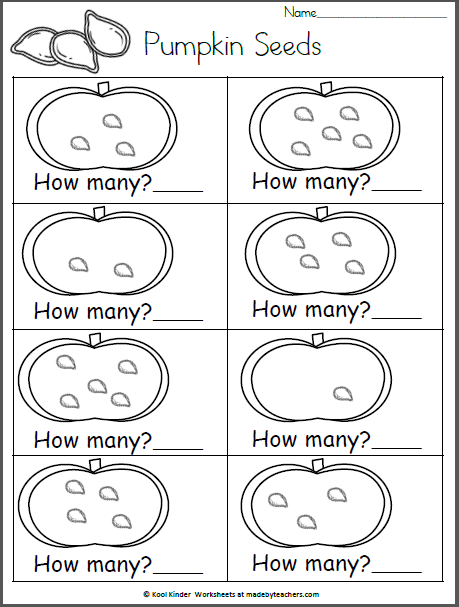 How Many Pumpkin Seeds 0 5 Madebyteachers Fall Preschool Activities Halloween Preschool Preschool Worksheets