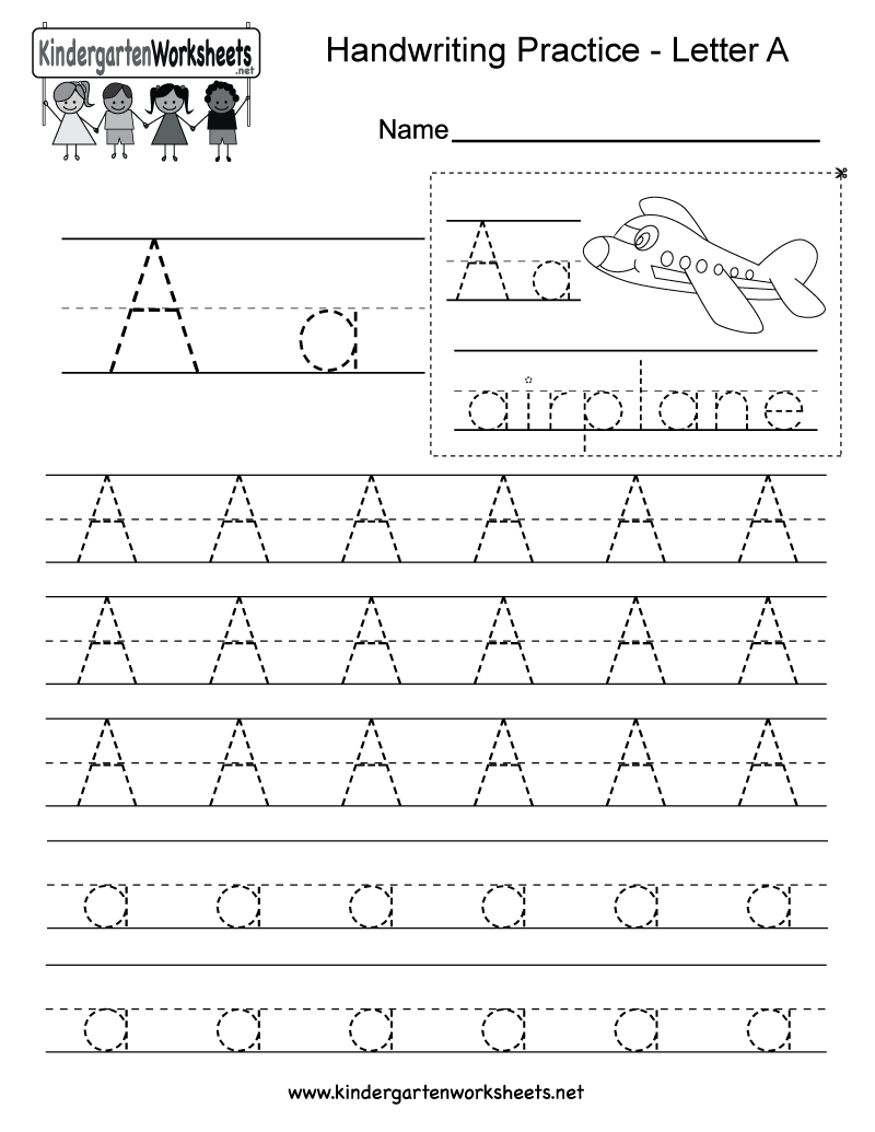 kindergarten letter a writing practice worksheet this series of handwriting alphabet worksheets. Black Bedroom Furniture Sets. Home Design Ideas