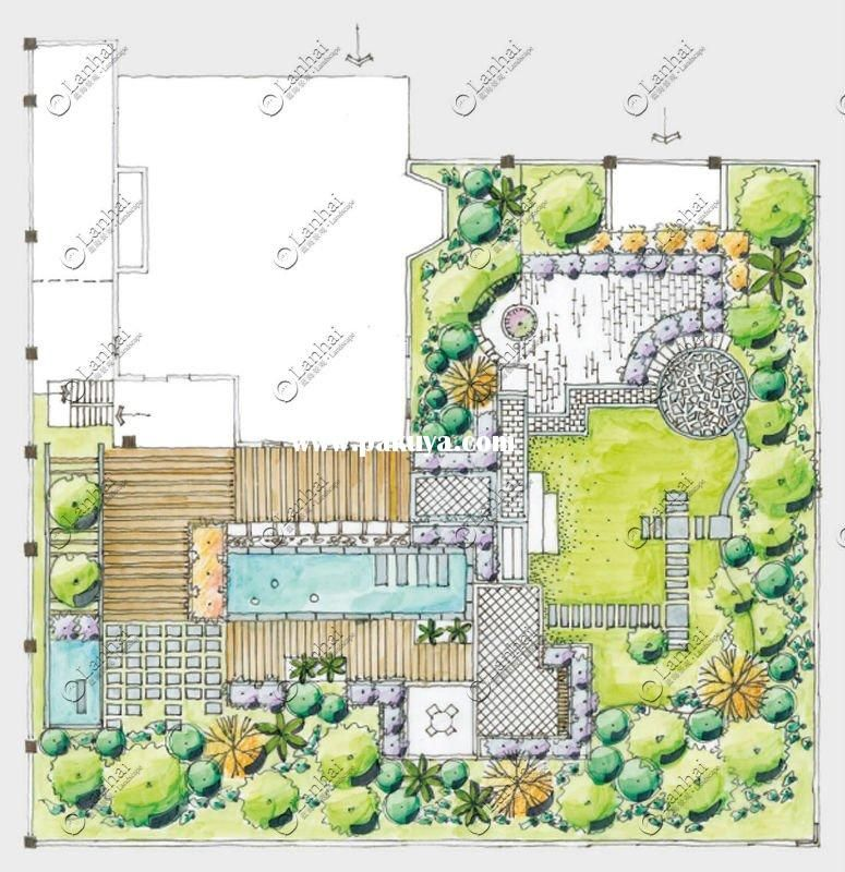 Pin by thu pham on garden plan pinterest landscaping for Backyard landscape design plans