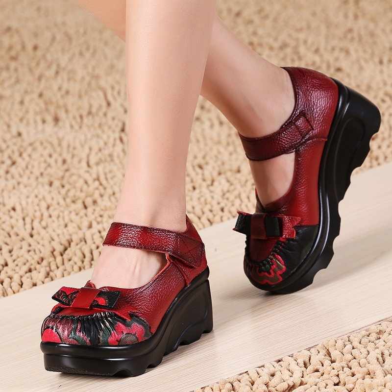 69.00$  Buy now - http://alisau.worldwells.pw/go.php?t=32695140955 - Thick soled women pumps high heels shoes comfortable ethnic style platform ladies heels female high heeled wedges