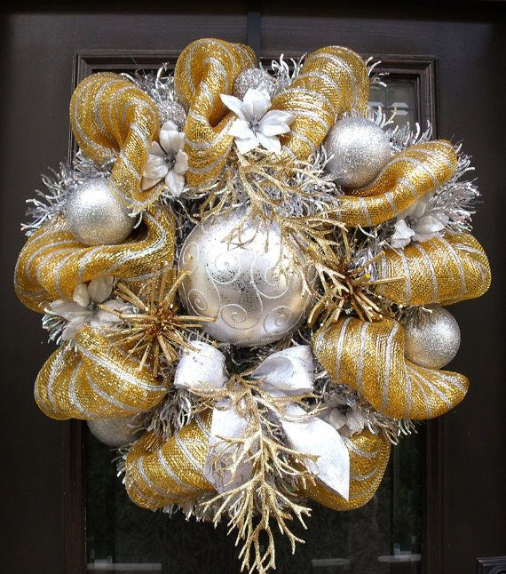 Gold and Silver Christmas Wreath Mesh Wreaths by LuxeWreaths ...