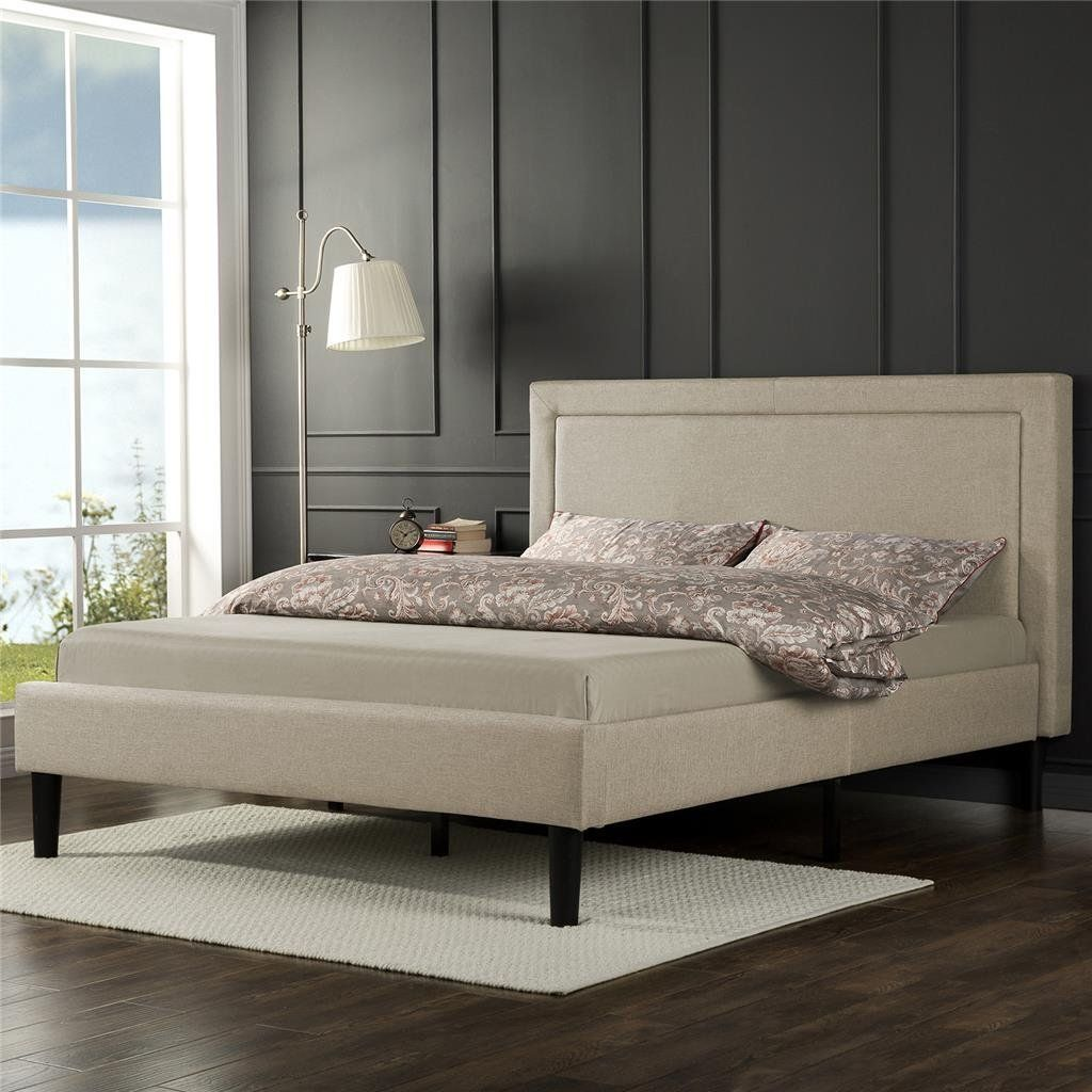 Amazon com  Zinus Upholstered Detailed Platform Bed with Wooden Slats   Queen  Kitchen   Dining   Bedroom   Pinterest   Beds  Platform and Kitchen  dining. Amazon com  Zinus Upholstered Detailed Platform Bed with Wooden