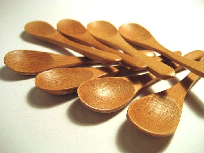 Mini bamboo spoons wooden spoon set of bath