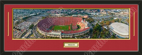 One framed large University of Southern California stadium panoramic with a customizable nameplate*, double matted in team colors to 39 x 13.5 inches.  The lines show the bottom mat color.  $139.99 @ ArtandMore.com