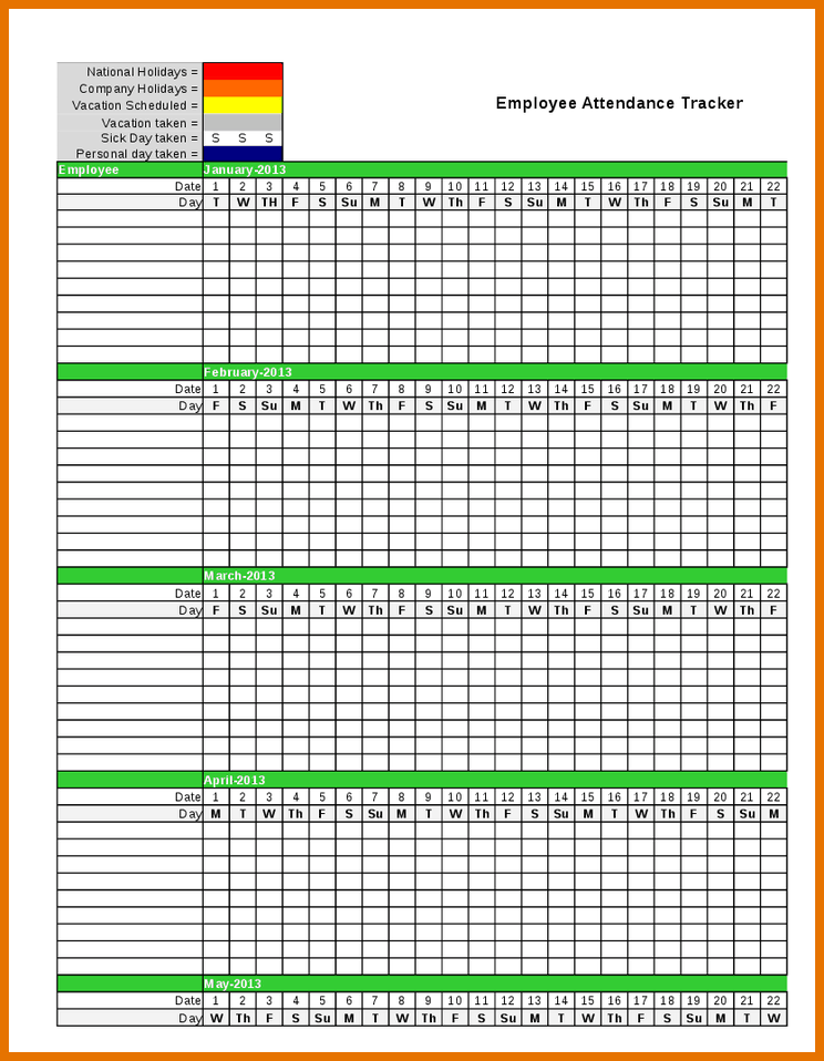 Stunning Employee Attendance Sheet Tracker Template With Green Title Background And Color Guide F Attendance Sheet Attendance Sheet Template Attendance Tracker