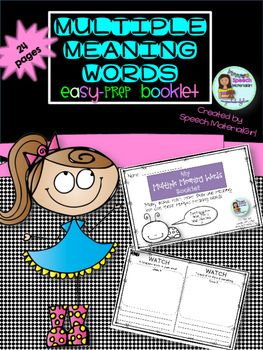 Multiple Meaning Words Booklet Easy Prep Draw Write Sentences
