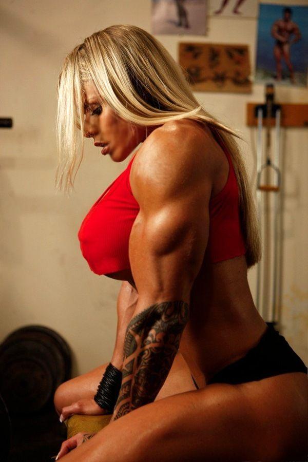 Girls flexing muscles