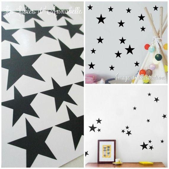 Stickers étoiles noires décoration pour chambre du0027enfant style - stickers chambre bebe garcon pas cher
