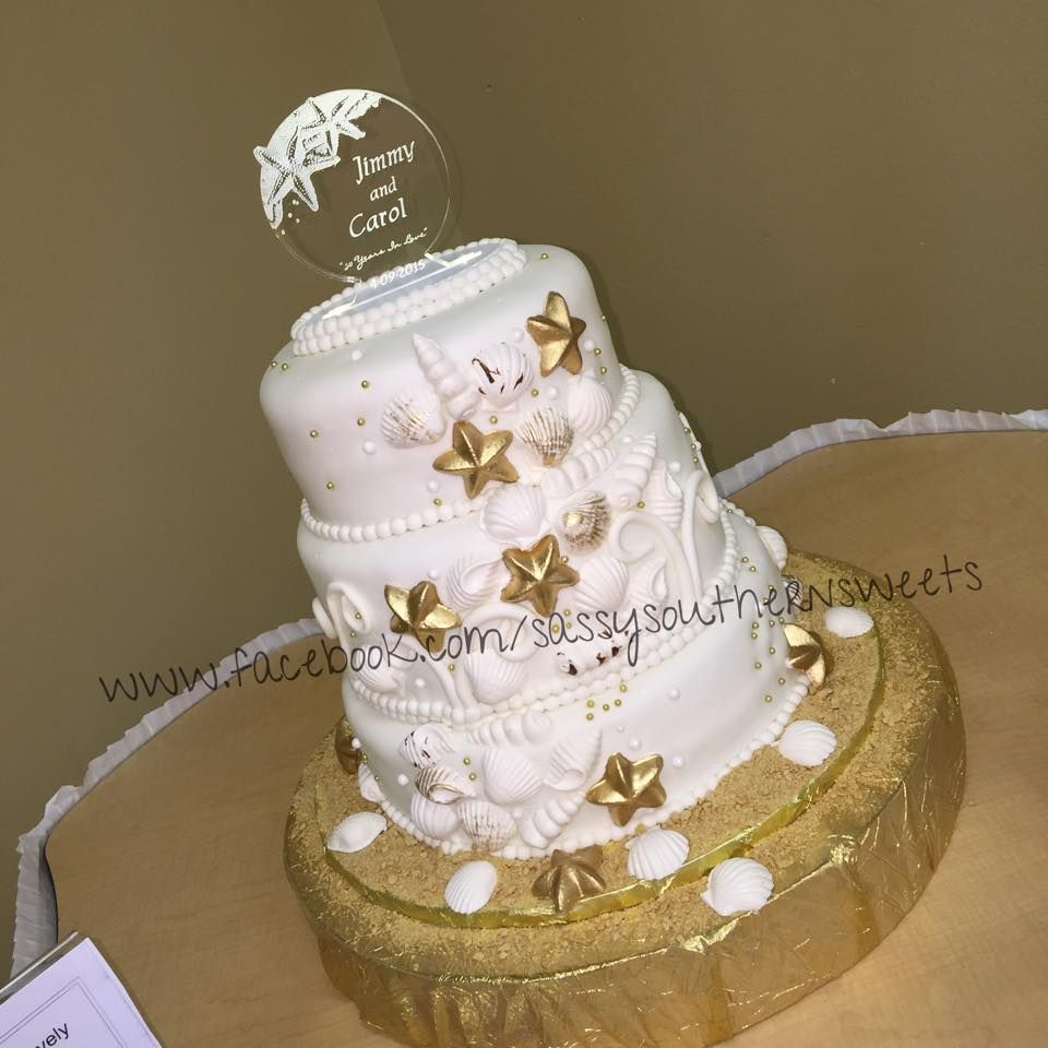 Th anniversary cake with seashells sassy southern sweets by