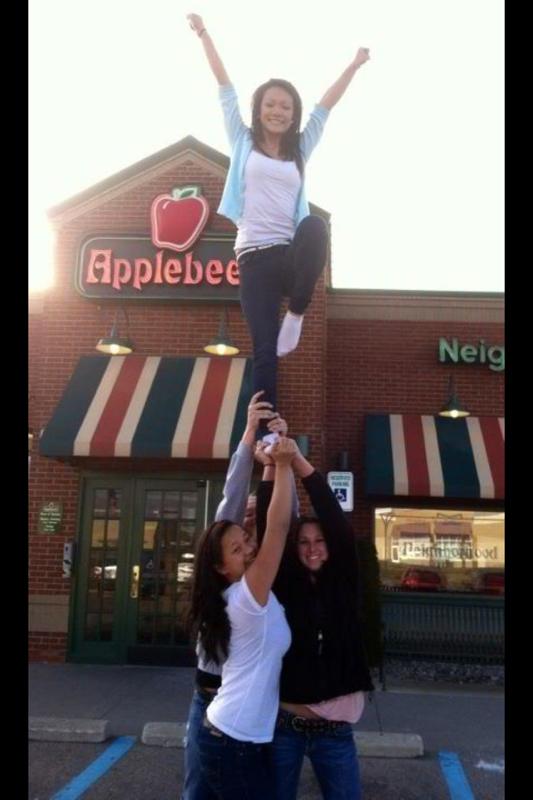 In front of applebees.. Cheerleading