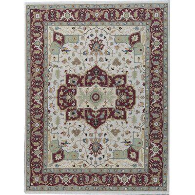 Bokara Rug Co., Inc. Oriental Hand-Knotted Wool Beige/Red Area Rug | Wayfair