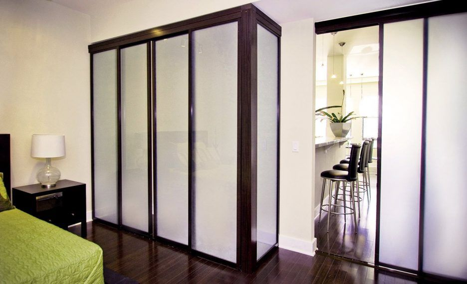 Bedroom Closet Sliding Frosted Glass Door Which Combined With Black