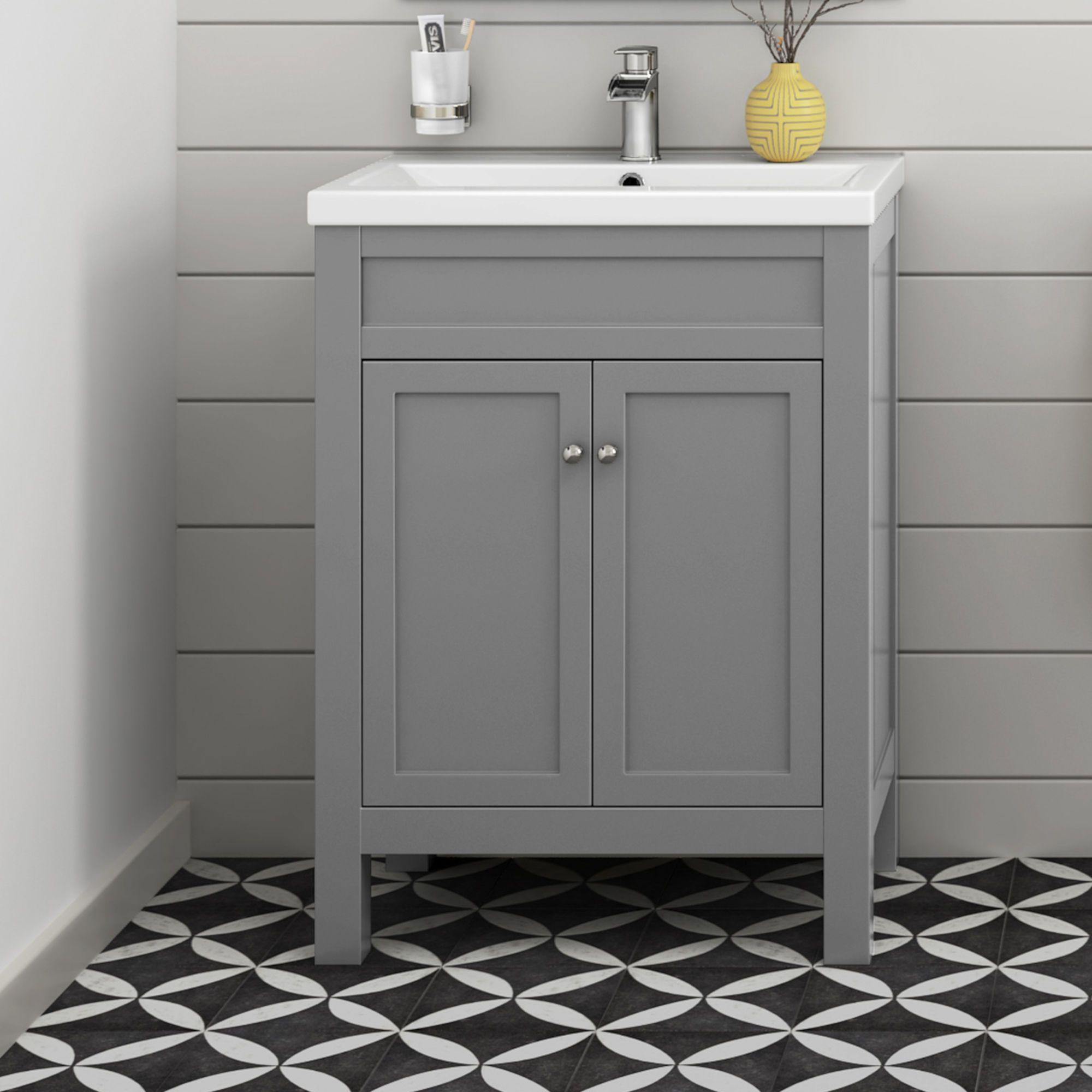600mm Melbourne Earl Grey Double Door Vanity Unit Floor Standing Bathroom Sink Units Bathroom Vanity Units Grey Vanity Unit