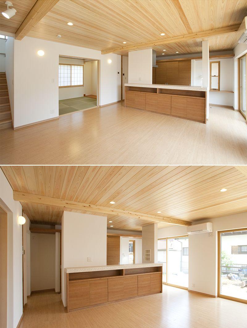 ゆったりとしたリビングイン階段と続き間の和室 天井に施した神奈川県