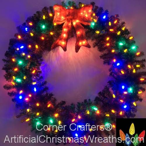 4 Foot (48 inch) Multi Color L.E.D. Christmas Wreath with Pre-lit ...