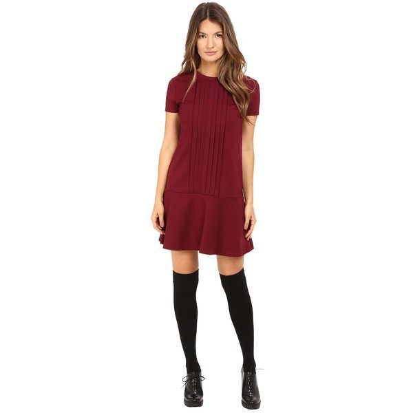 RED VALENTINO Tech Ponte Jersey Dress (Maroon) Women's Dress ($495) ❤ liked on Polyvore featuring dresses, red dress, maroon dress, ponte dress, short sleeve jersey dress and short sleeve shift dress