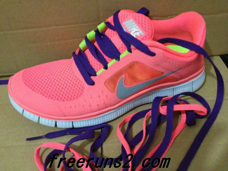 #Womens #Nike Free Run 3 Hot Punch Reflective Silver Sol Volt Purple Lace Cheap Nike Frees 2013 Shoes  #like