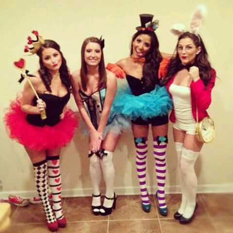 alice in wonderland group costume queen of hearts alice the mad hatter and the white rabbit - Romy And Michelle Halloween Costumes