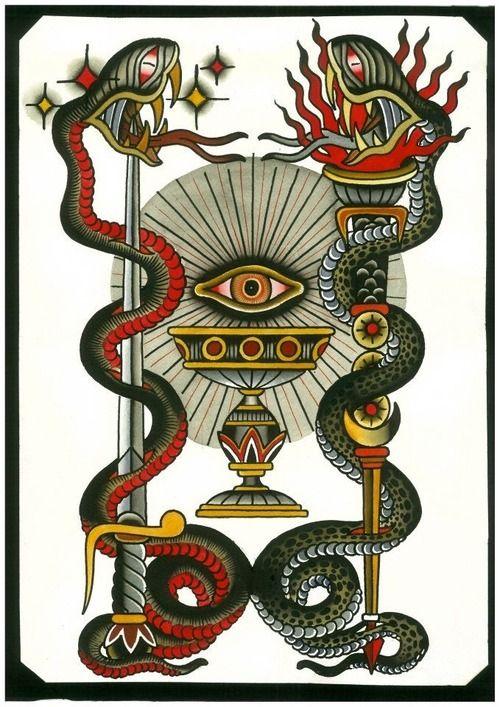 #vintage tattoo flash #snake tattoos   Slither   Pinterest ...