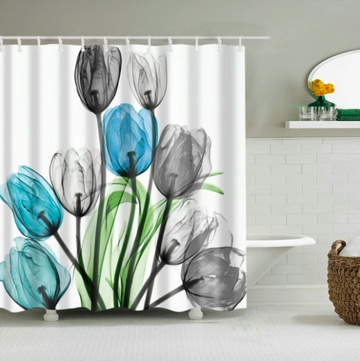 Blue Grey Flowers Fabric Shower Curtain In 2020 Floral Shower