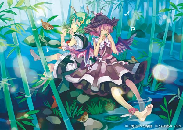 2013 2girls adapted_costume animal_ears antennae back-to-back bamboo barefoot bird dress eurasian_tree_sparrow grass hat kunn03 multiple_girls musical_note mystia_lorelei nature short_hair sitting sparrow touhou water watermark wings wriggle_nightbug