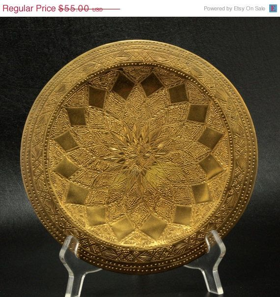 Vintage Hand Stamped Decorative Brass Wall Hanging Plate Tray This ...