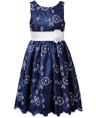Bloome Kids Dress Girls Plus Size Floral Embroidered Dress Kids