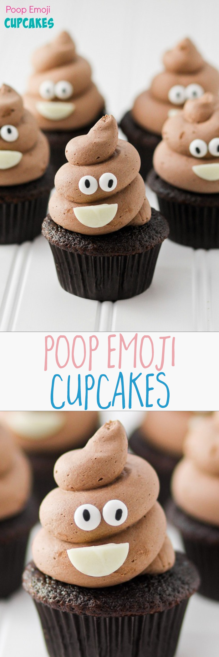 POOP EMOJI CUPCAKES pin to make these for the kids They are