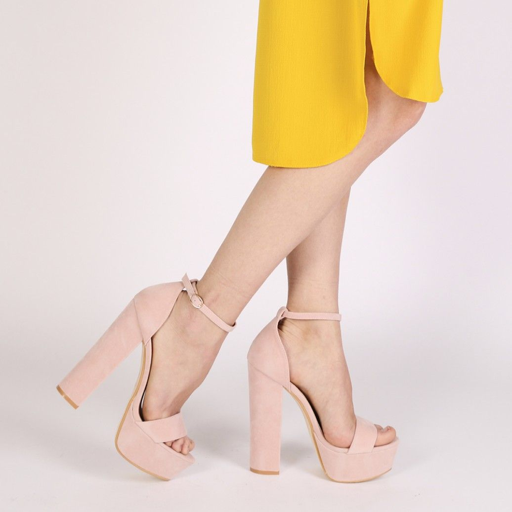 9b85382ea73e Bryn Platform High Heels in Blush Pink Faux Suede