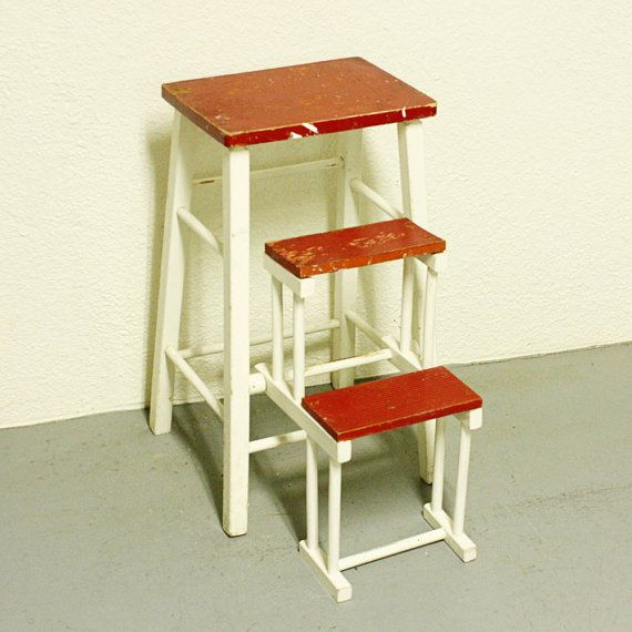 Vintage Kitchen Stool Step Stool Stool Chair Fold Out Steps Pull Out Steps Red And
