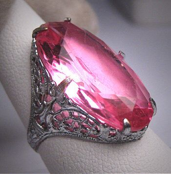 Antique Pink Sapphire Paste Ring Vintage Art Deco 1920s by AawsombleiJewelry on Etsy https://www.etsy.com/listing/179418693/antique-pink-sapphire-paste-ring-vintage