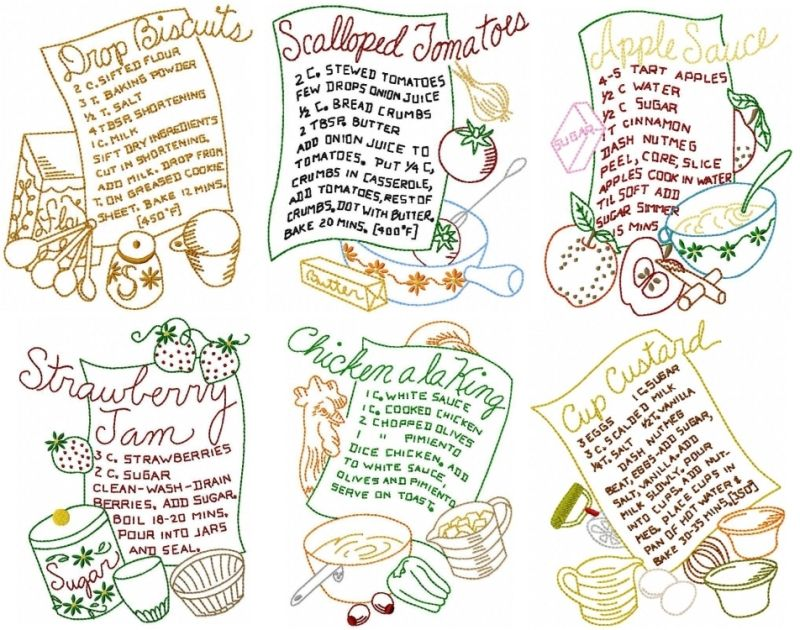 sewing machine embroidery tea towel recipes i - Bakers Gonna Bake Kitchen Redwork Embroidery Designs