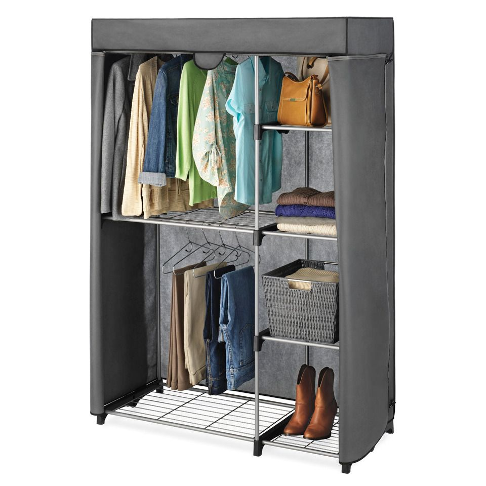 Whitmor Double Rod Closet Cover In Gray   Beyond The Rack