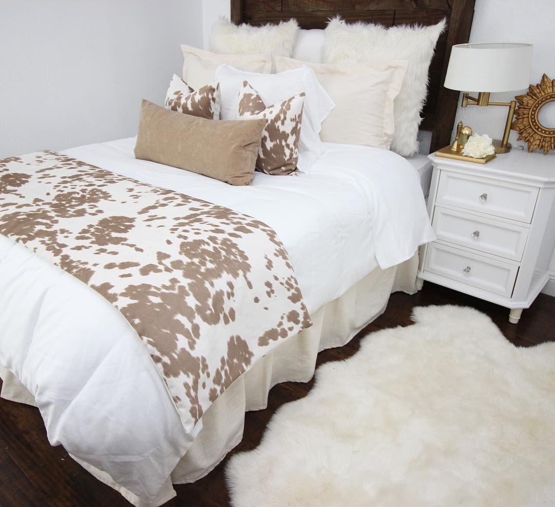 Due to popular request... our Tan Cowhide custom bedding