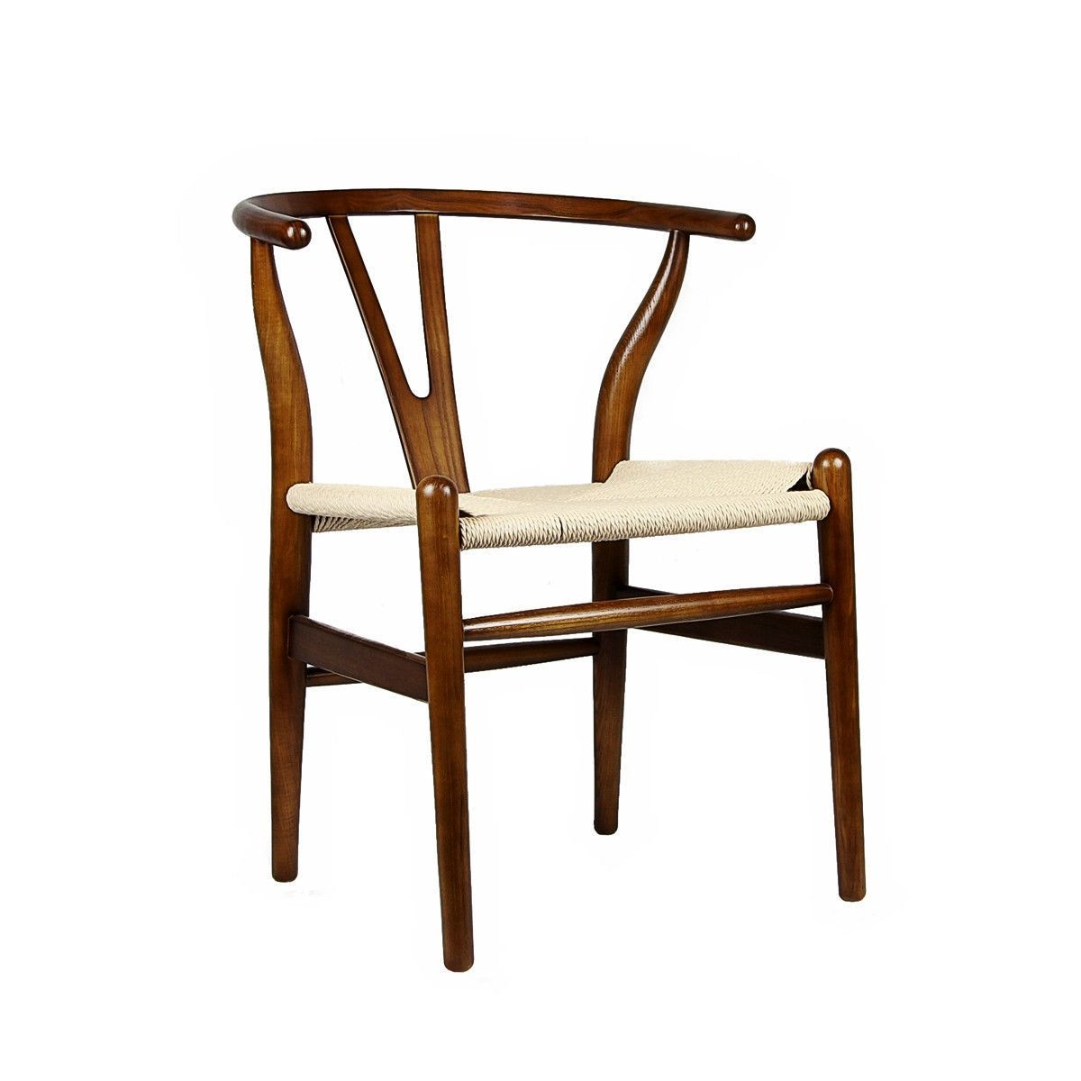 Wishbone chair walnut woven cord