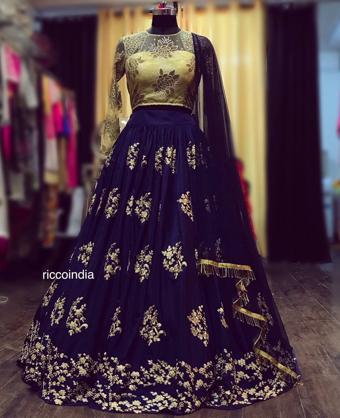 0a70873d728 Blue embroidered flared skirt with gold bead work blouse and fringe detail  dupatta