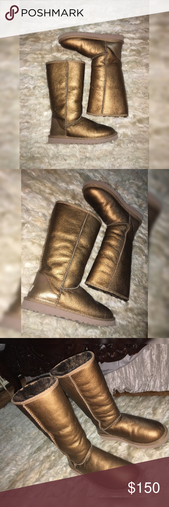 Ugg Gold/Bronze Long Boots Limited Edition Sz.8 Beautiful Limited Edition Bronze / Gold long Uggs in size 8 . These Uggs pop in color and will stand out . They have only been worn in the house and then put back in the closet . They are in absolutely perfect and Brand New condition . They where bought strait from the UGG store in New Jersey UGG Shoes Over the Knee Boots