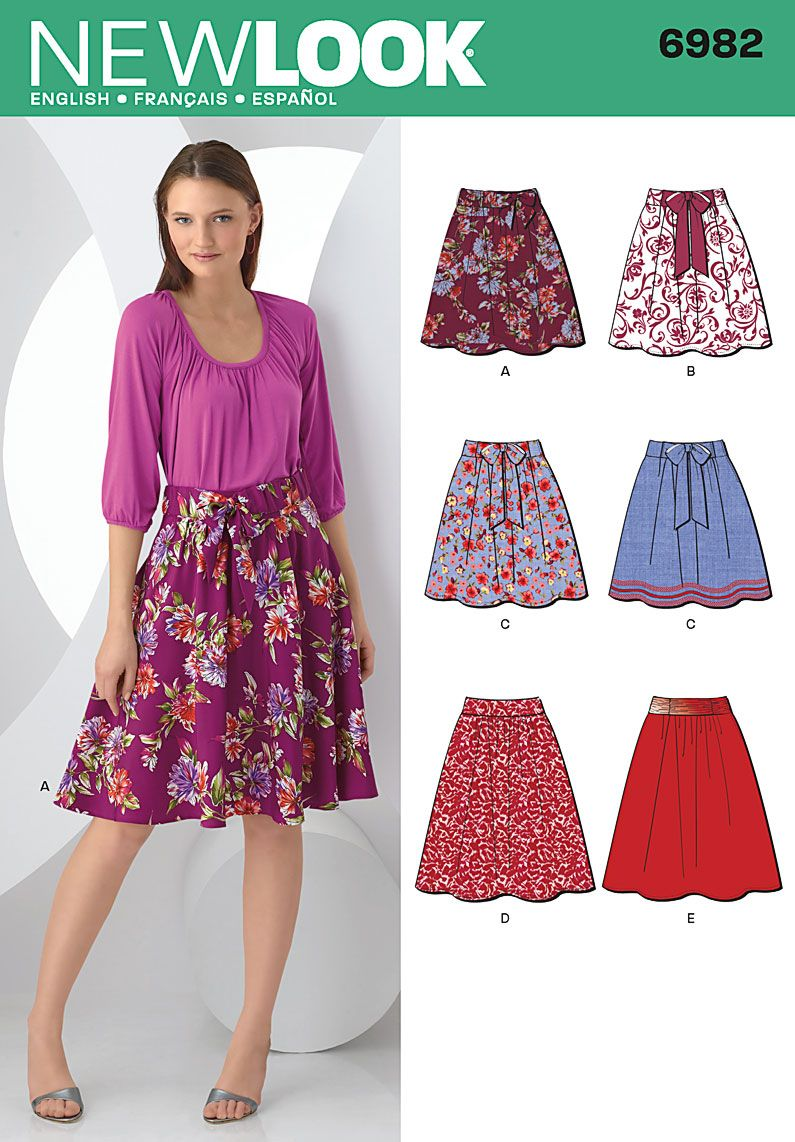 simplicity 6982 sewing pattern for high waisted skirts