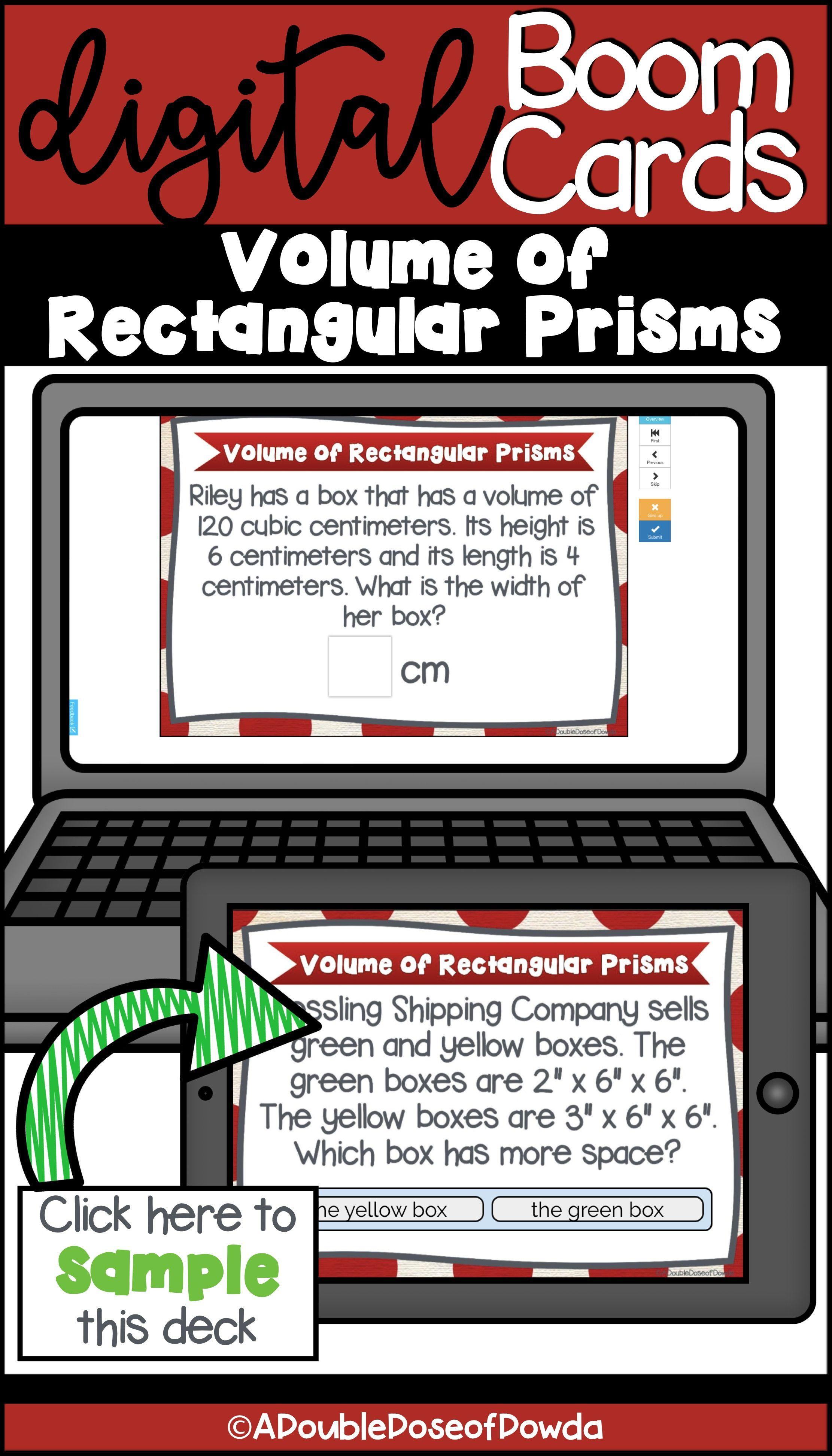 Self Grading Volume Of Rectangular Prisms Task Cards For
