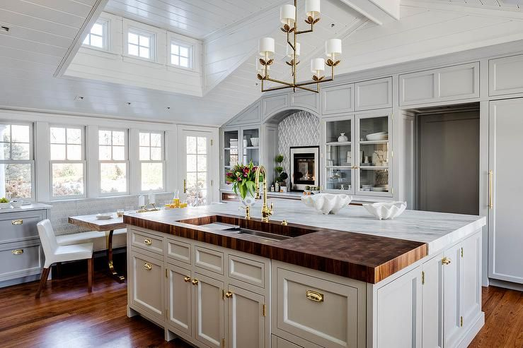 Mixed Materials Kitchen Island Features A Butcher S Block With A