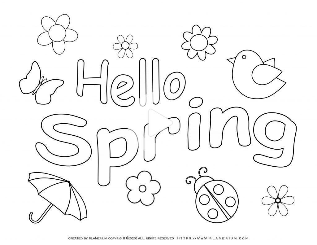 Spring Coloring Pages And Worksheets Free Spring Coloring Pages Coloring Pages Hello Spring