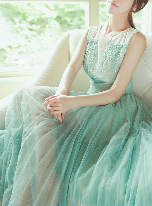 98ab9d812eb7bf Mint Tulle Dress Haute Couture