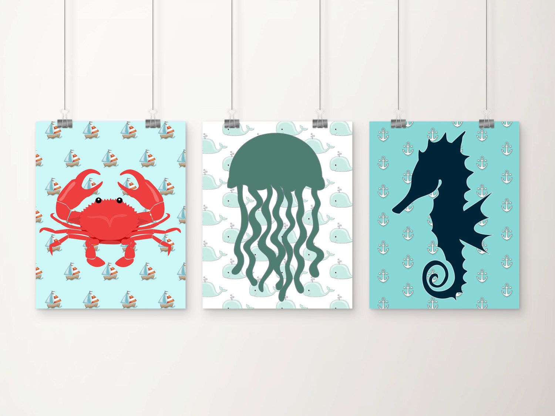 Sea Life Nursery Art Print Set Nautical Nursery by DCAStudio