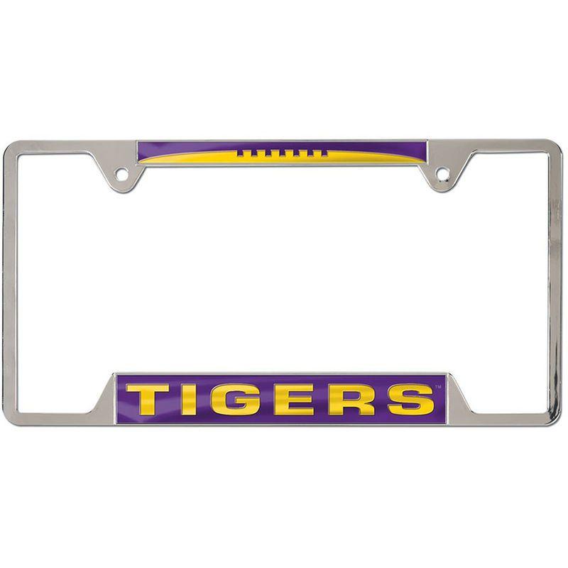 LSU Tigers WinCraft 4-Tab Style Inlaid Metal License Plate Frame