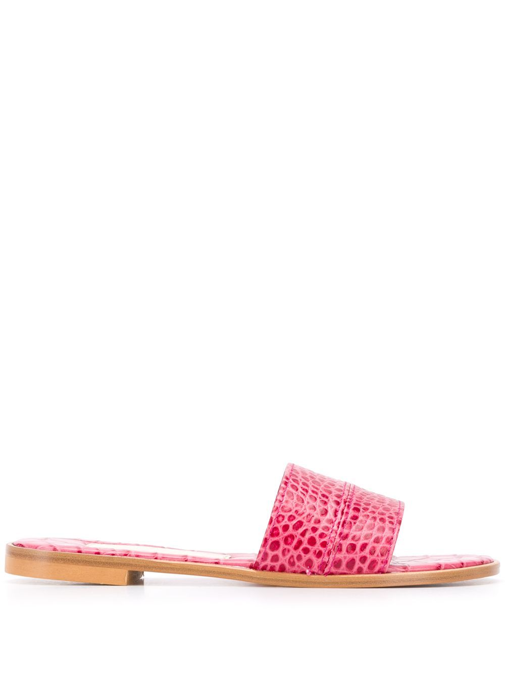 Pink leather crocodile embossed sandals from Avec Modération featuring an open toe, a branded insole and a flat sole.