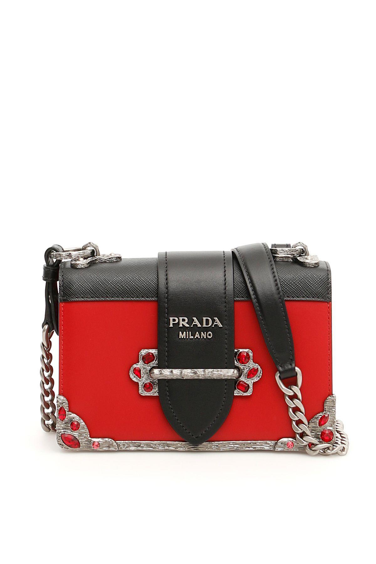 Prada Cahier Jewel Bag In Fuoco Nero ModeSens Jeweled