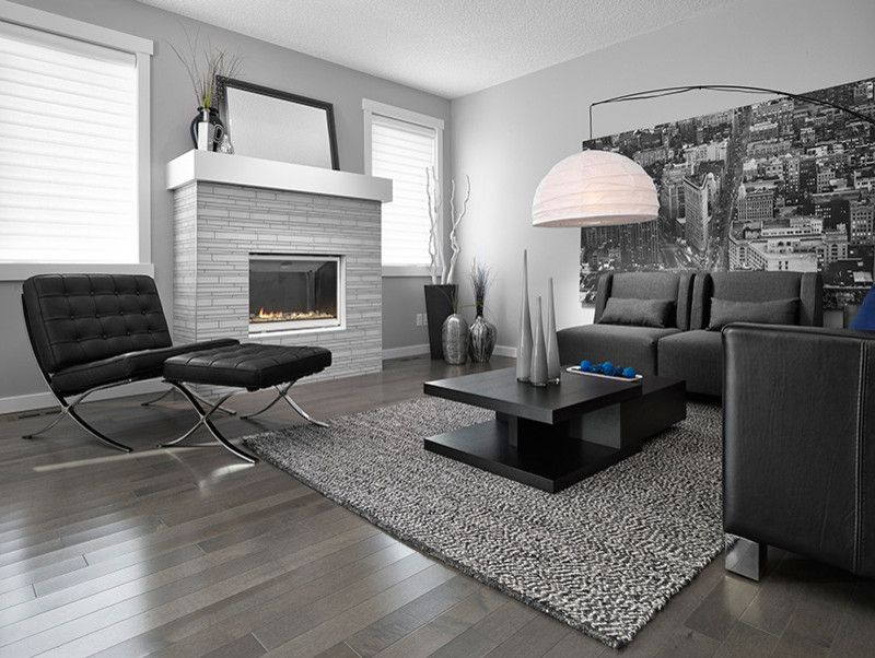 Dark Hardwood Floor Grey Wall Black Couches Customized Living Room Table Urban Wall Picture Contemporary Ha Living Room Grey Grey Hardwood Floors Grey Flooring