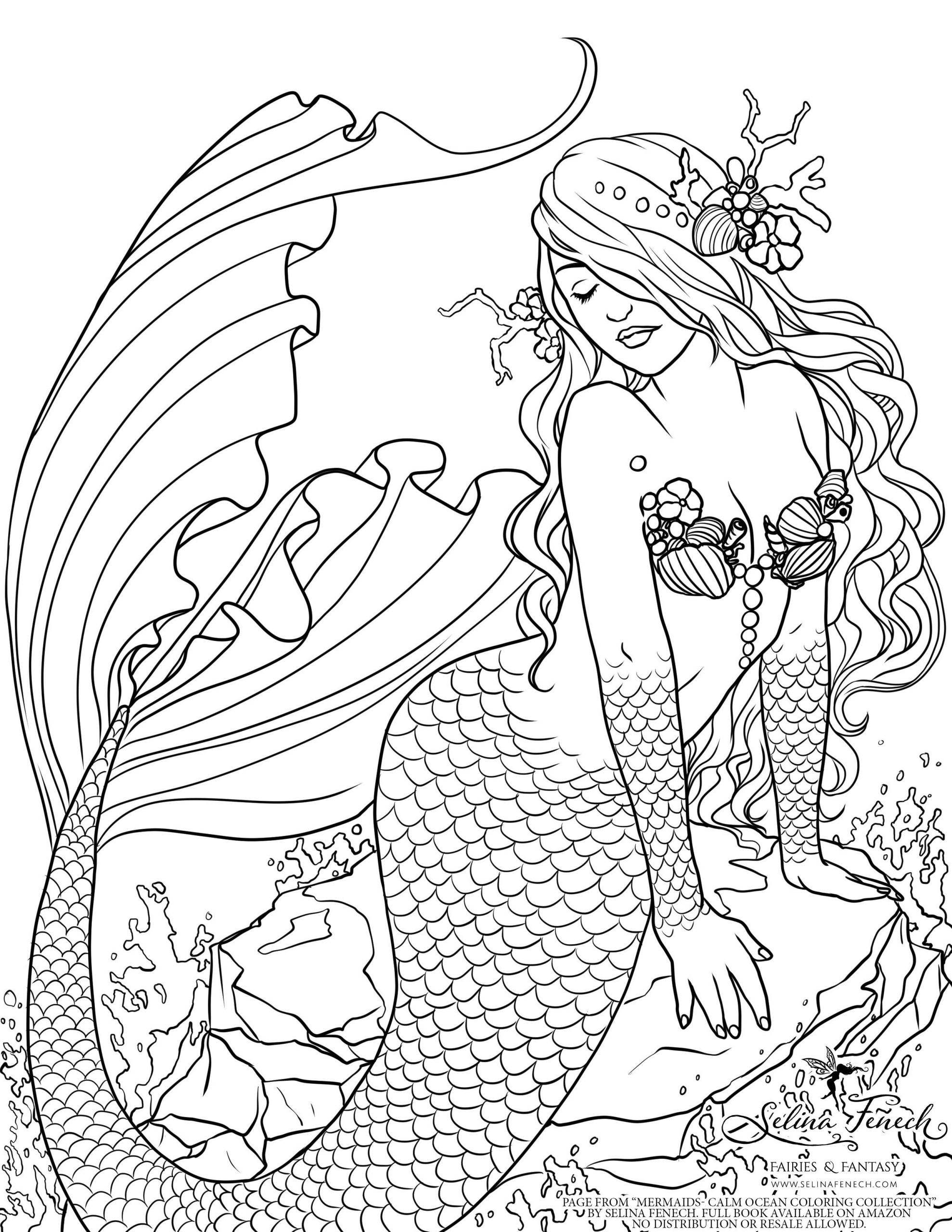 Mermaid Coloring Page For Adults Youngandtae Com In 2020 Mermaid Coloring Book Mermaid Coloring Pages Fairy Coloring Pages