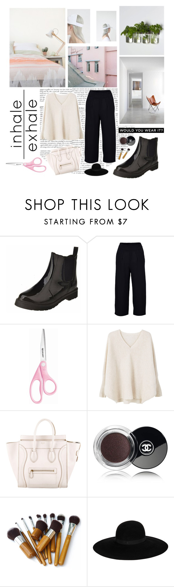 """""""Cognition"""" by coreeadis ❤ liked on Polyvore featuring Boohoo, MANGO, CÉLINE, Chanel and Maison Michel"""